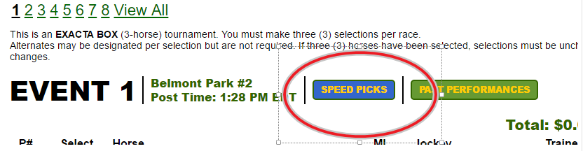 Speed Picks, Copy Function Now Available for Exacta Box